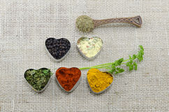 Various spices in heart chaped containers on a tablecloth Royalty Free Stock Photo
