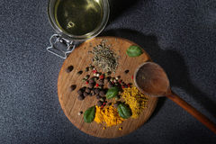 Various spices and herbs from above Royalty Free Stock Photos