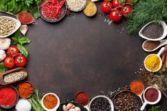Various spices and herbs royalty free stock photography