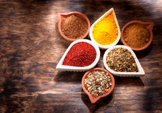 Various Spices, herbs and spicy spices in bowls. Royalty Free Stock Images