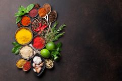 Various spices and herbs Stock Photos