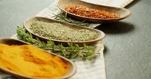 Various spices with herbs in a tray 4k stock footage