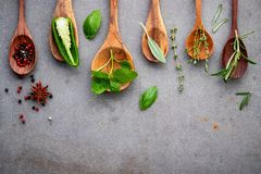 Various of spices and herbs in wooden spoons. Flat lay spices in royalty free stock images