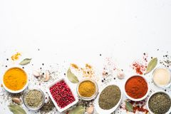 Various Spices In A Bowls On White. Royalty Free Stock Photo