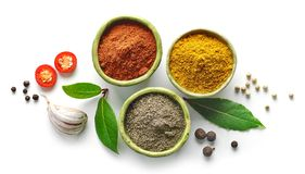 Various spices isolated on white background. Top view Royalty Free Stock Image