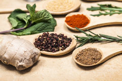 Various spices on kitchen spoons on grunge table Royalty Free Stock Image