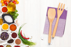 Various spices and kitchen utensil Royalty Free Stock Photo