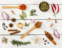 Various spices on light wooden background. Royalty Free Stock Images