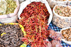 Various spices on the market Royalty Free Stock Photos