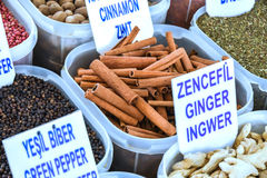 Various spices on the market Stock Images
