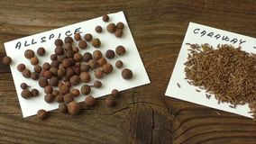 Various spices. On old brown wooden table stock video