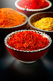 Various spices over black background Stock Image