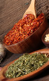 Various spices over a wood background. Different c Royalty Free Stock Photos