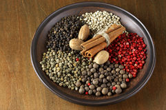 Various spices in plate Royalty Free Stock Image