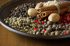 Various spices in plate Stock Photo