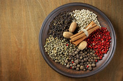 Various spices in plate Royalty Free Stock Images