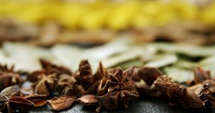 Various spices in plate 4k. Close-up of various spices in plate 4k stock video