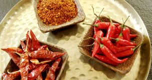Various spices in plate 4k. Close-up of various spices in plate 4k stock video footage