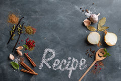 Various spices and recipe word Stock Photography