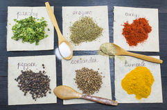 Various spices  on recycled papers with labels placed Royalty Free Stock Photos