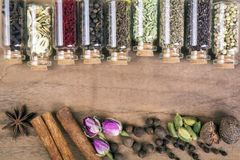 Various spices seeds royalty free stock photo