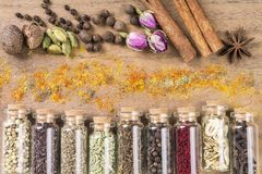 Various spices seeds stock images