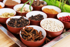 Various spices selection. Spices and herbs in metal  bowls. Food and cuisine ingredients. Colorful natural additives Royalty Free Stock Photography