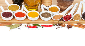 Various spices selection. Isolated on white background Stock Photos