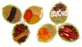 Various Spices in six leaf shape plates Stock Photos