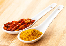Various spices in spoon Stock Image