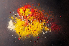 Various spices. On stone table. Top view Stock Image