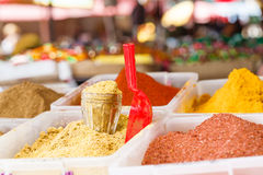 Various spices from the street market with various food and drinks. Food market in Georgia Royalty Free Stock Image