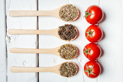 Various spices with tomato in wooden spoons Stock Image