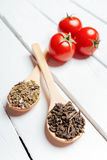 Various spices with tomato in wooden spoons Stock Images