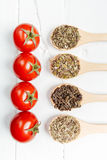 Various spices with tomato in wooden spoons Stock Photography