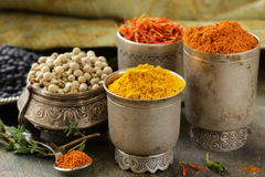 Various spices (turmeric, paprika, saffron, coriander) Royalty Free Stock Photo