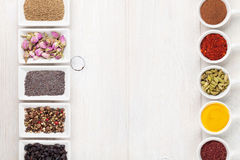 Various spices on white wooden background Stock Image