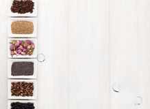 Various spices on white wooden background Royalty Free Stock Photography