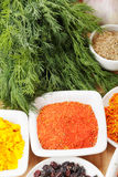 Various spices on wood Stock Photos