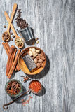 Various spices on wood Stock Photo