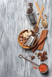 Various spices on wood Royalty Free Stock Image