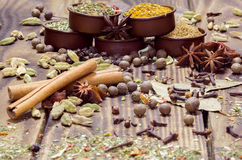 Various spices on a wooden background Royalty Free Stock Photos