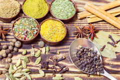 Various spices on a wooden background Stock Images