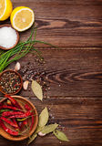 Various spices on wooden background Stock Image