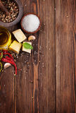 Various spices on wooden background Stock Photo