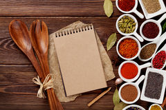 Various spices on wooden background Royalty Free Stock Photography