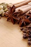 Various spices on the wooden board Stock Photo