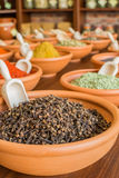 Various spices in bowls. Various spices in ceramic bowls stock image