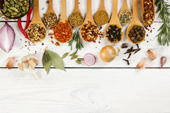 Various spices in wooden spoon on light background. Royalty Free Stock Image