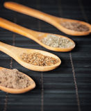 Various spices in wooden spoons Royalty Free Stock Photography